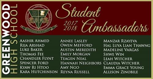 Student Ambassadors Selected - Greenwood High School