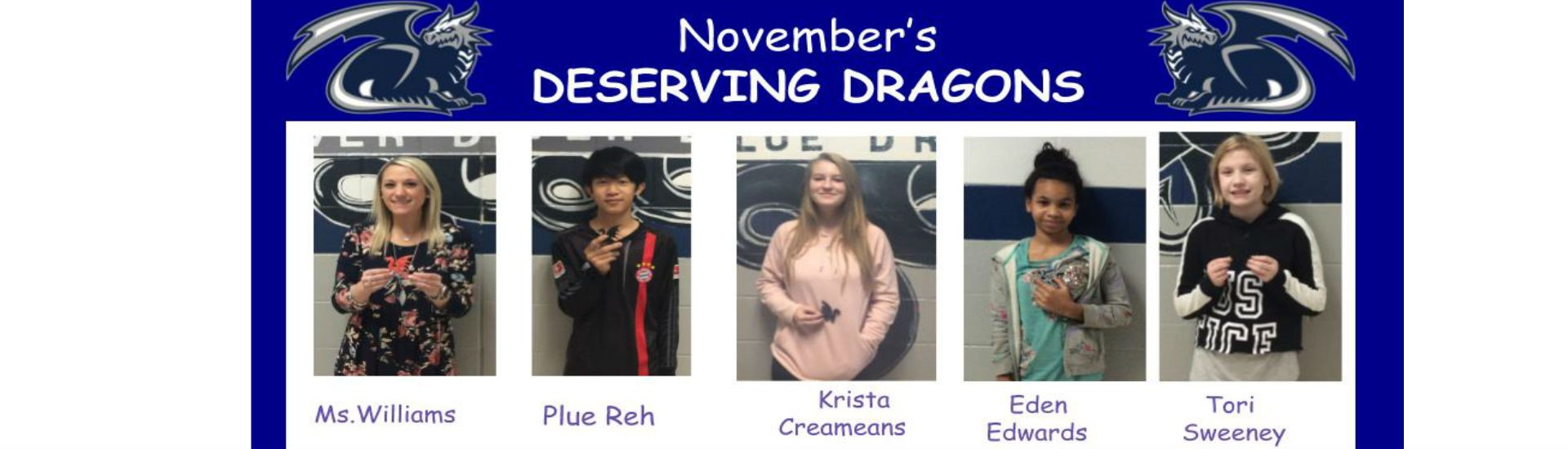 Here are our Deserving Dragons from November. Congrats to all of you!