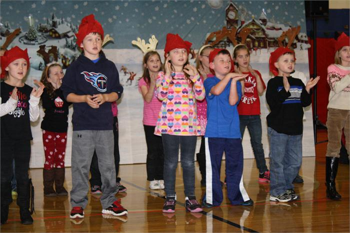 Students in grades 1-2 did a dress rehearsal December 11.